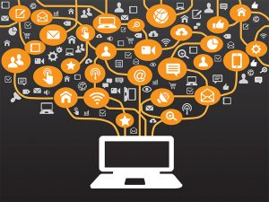 Cross Media Marketing graphic of Laptop with Icon representations of different forms of communication winding out