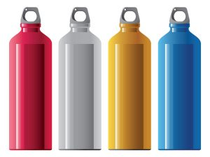 Promotional Items Image of red, white, yellow, and blue screw top water bottles