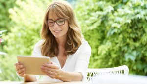 Woman Reading Tablet Graphic